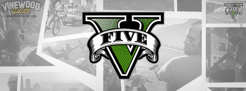 Grand Theft Auto V Logo White  Facebook Cover