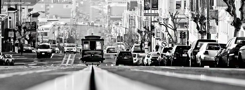 San Francisco BW Trolly On A Hill Facebook Cover