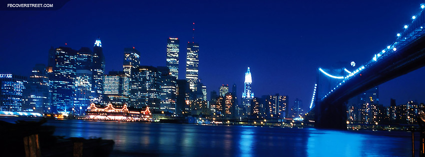 New York City Blue Lights View Facebook Cover