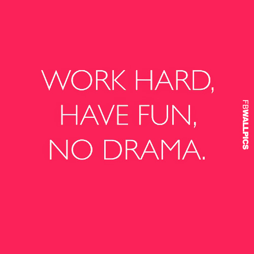 Work Hard   Have Fun   No Drama Quote Facebook picture