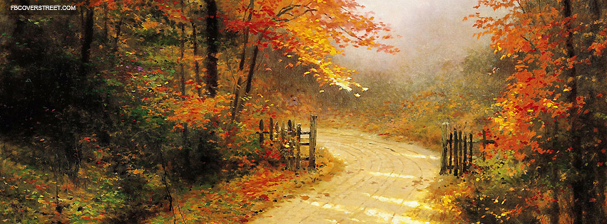 Autumn Lane Painting Facebook Cover