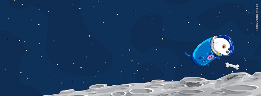 Doggie Floating In Space Cartoon  Facebook cover
