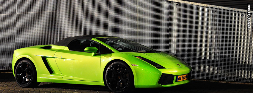 Green Lamborghini Gallardo Spyder Facebook Cover