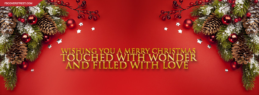 Merry Christmas With Wonder and Love Quote Facebook Cover