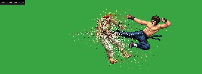 Street Fighter Ryku Exploding Into Pixels  Facebook cover