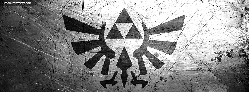 Hylian Crest Scratched Steel Logo BW Facebook Cover