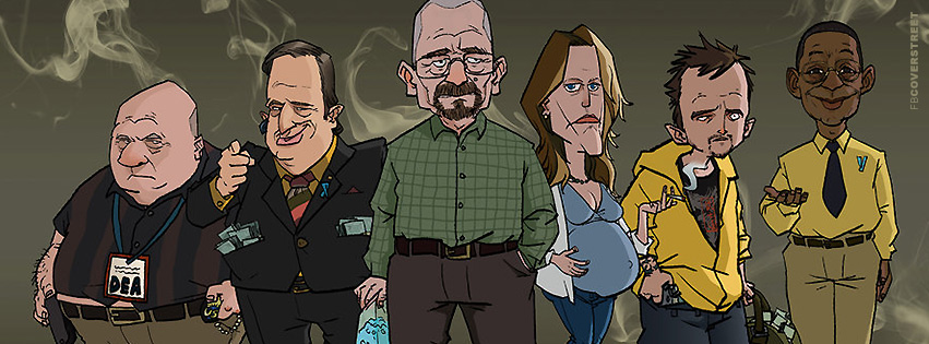 Breaking Bad Funny Cast Cartoon Facebook Cover