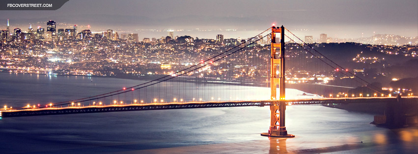 San Francisco Golden Gate Bridge At Night Facebook Cover