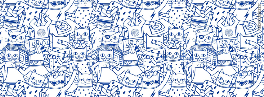 Hipster Internet Cats Pattern  Facebook cover