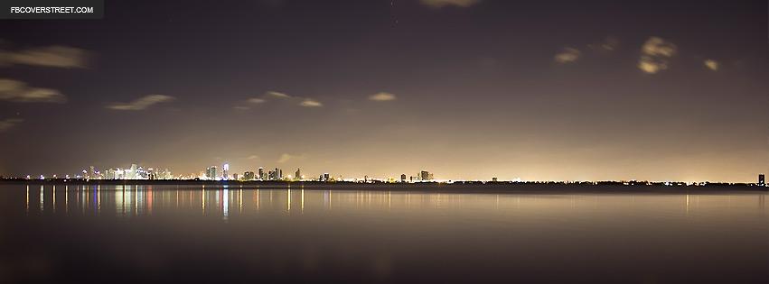 Miami Florida Night Skyline Facebook Cover