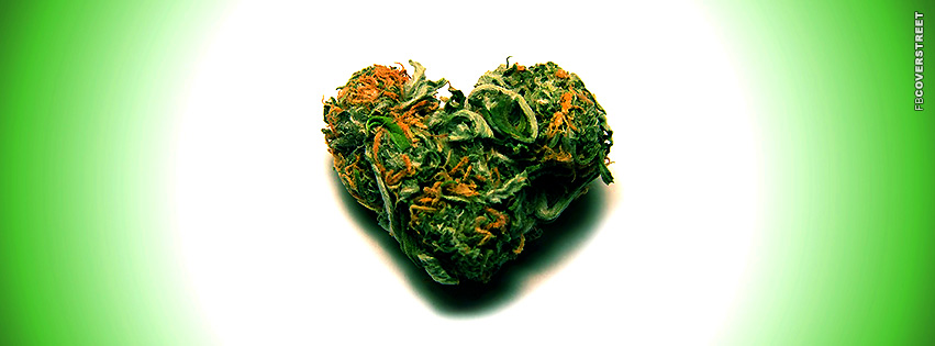 Green Marijuana Heart Shaped Hydro Nugget Facebook Cover