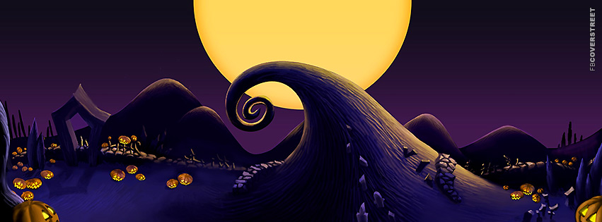 Halloween Nightmare Before Christmas Scenery Facebook Cover
