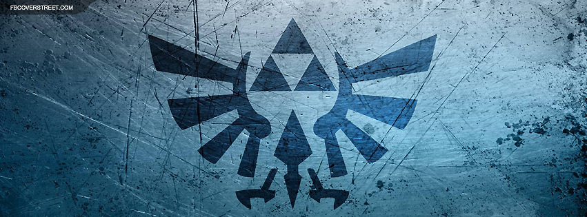 Hylian Crest Scratched Steel Logo Facebook Cover