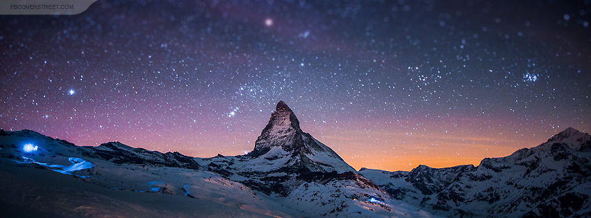 Colorful Sunset Space With Cold Snowy Mountain Facebook Cover