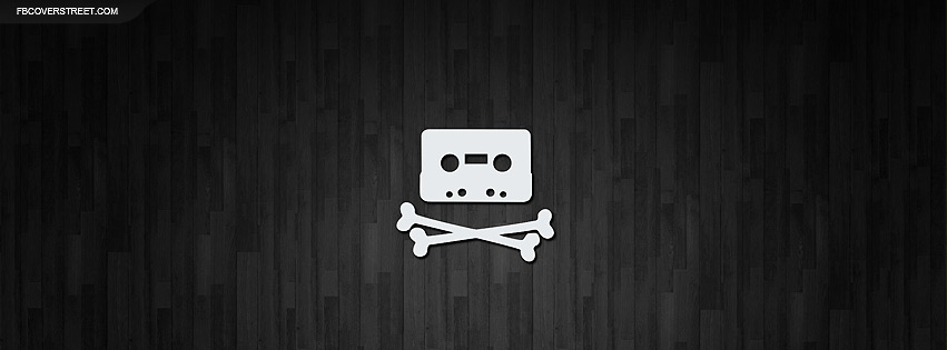 The Pirate Bay Skull and Bones Tape Cassette Logo Wood Facebook Cover