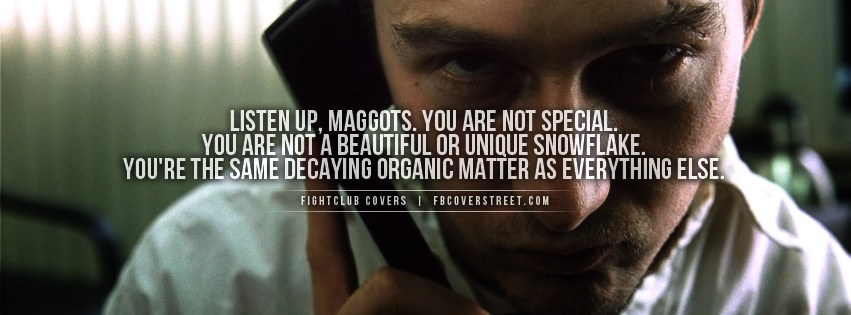 Fightclub Decaying Matter Quote Facebook Cover