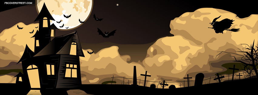 Halloween Night House Bats And Witch Scenery Facebook Cover