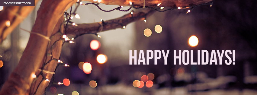 Happy Holidays Bokeh City Lights Facebook Cover