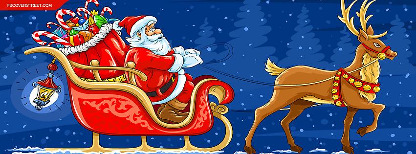 Reindeer Pulling Santa Claus Cartoon Facebook Cover