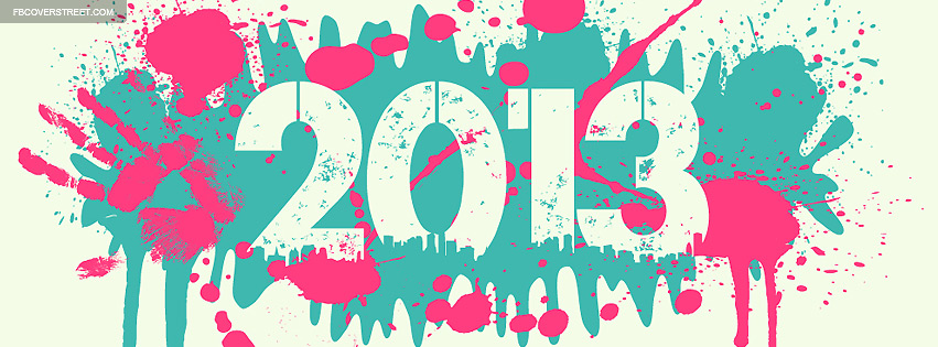 2013 Paint Splatters Pink Blue Grey Facebook cover