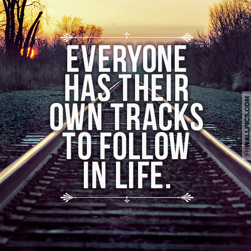 Everyone Has Their Own Tracks To Follow Wisdom Quote Facebook Pic