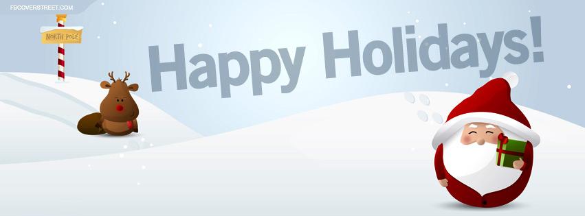 Happy Holidays North Pole Vector Art Facebook Cover - FBCoverStreet.com