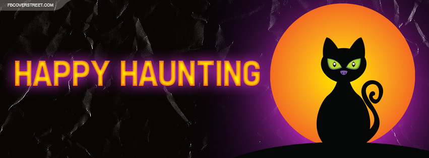 Happy Haunting Black Cat Facebook Cover