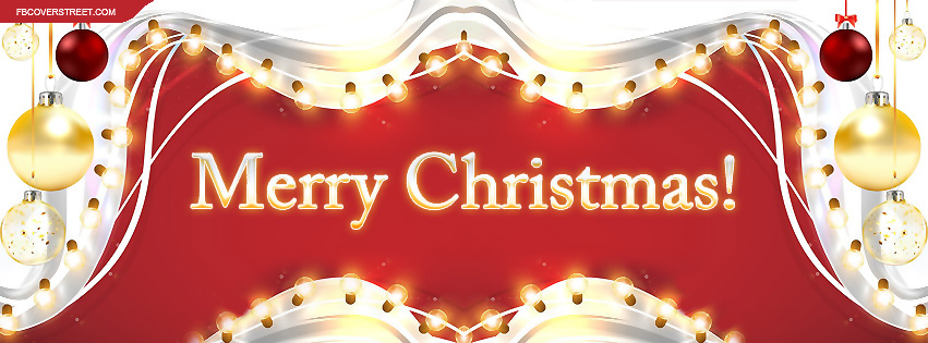 Merry Christmas Gold Red Ornament Border Facebook Cover