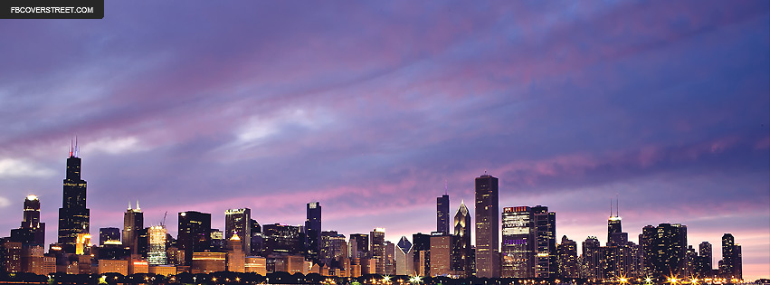 Chicago Purple Cloudy Sky Sunset Facebook Cover