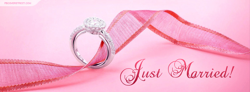 Just Married Pink Ribbon and Wedding Ring Facebook Cover