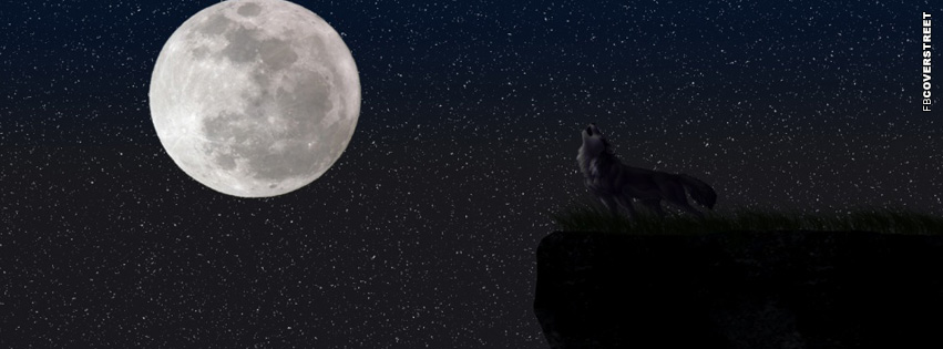 Wolf Howling Moon  Facebook Cover