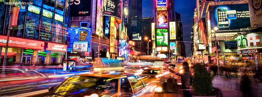 New York City Light Motion Traffic Facebook Cover