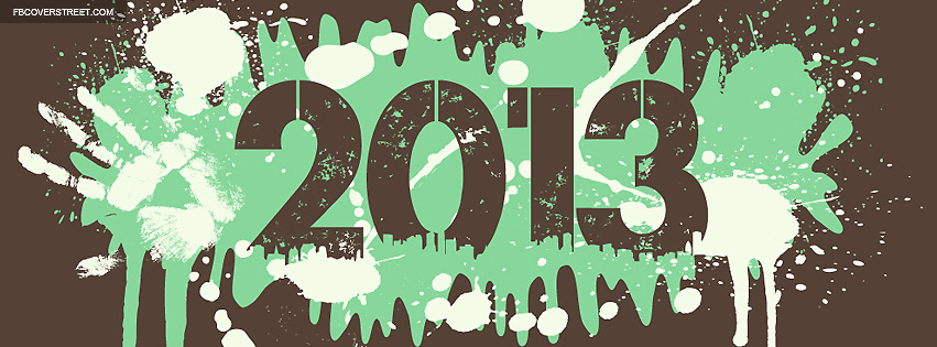 2013 Paint Splatters Brown Green Facebook Cover