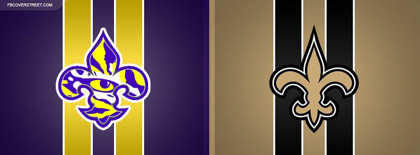 LSU Tigers and New Orleans Saints Logos Facebook Cover