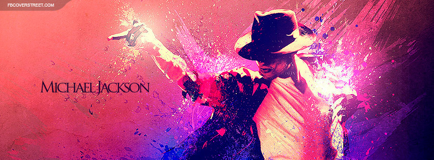 Michael Jackson Pink and Purple Splatter Painting Facebook Cover
