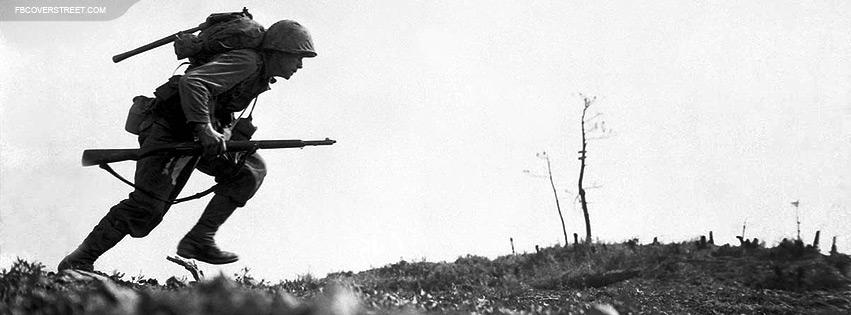 World War II Soldier Running Photo Facebook Cover
