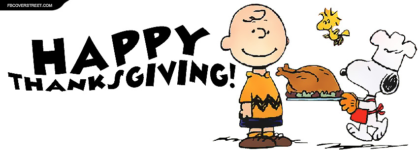 Charlie Brown and Snoopy Happy Thanksgiving Facebook Cover