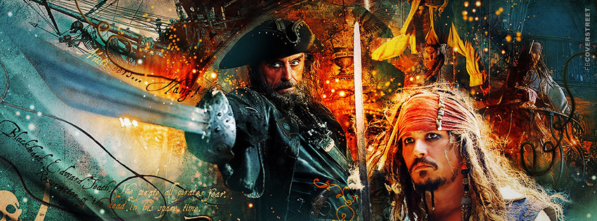 Pirates of the Caribbean Blackbeard and Jack Sparrow Facebook cover