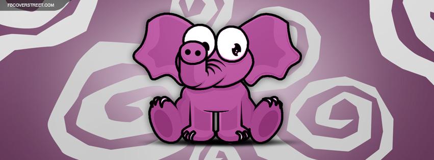 Cute Purple Elephant Facebook cover