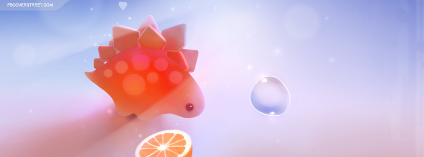 Cute Dinosaur With Fruit Facebook Cover