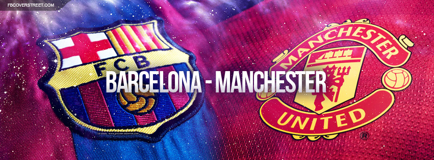FC Barcelona and Manchester United Logos Facebook cover