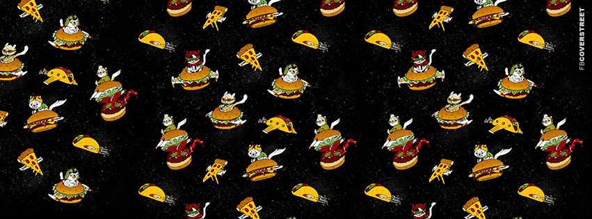 Cats Flying Through Space On Food  Facebook cover