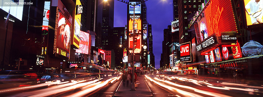 New York City Times Square Light Motion Traffic Facebook Cover
