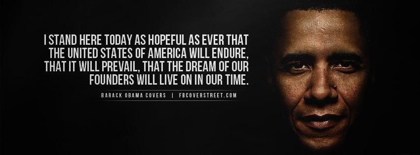 Barack Obama Hopeful Quote Facebook Cover