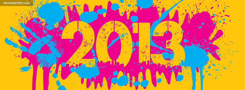 2013 Paint Splatters Pink Blue Yellow Facebook cover