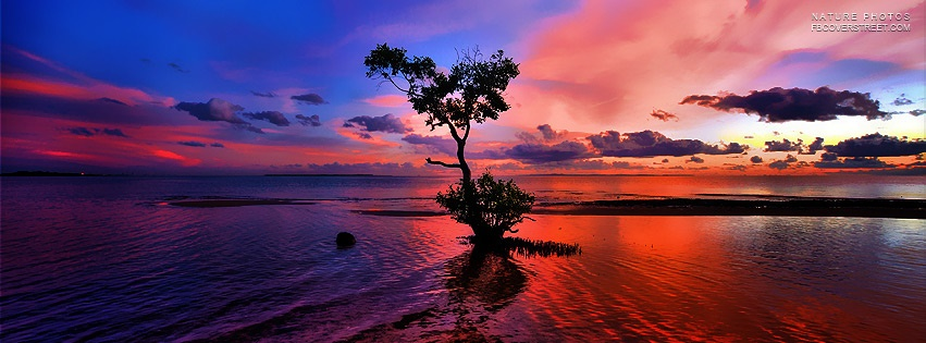 Super Vibrant Colored Sunset Facebook Cover