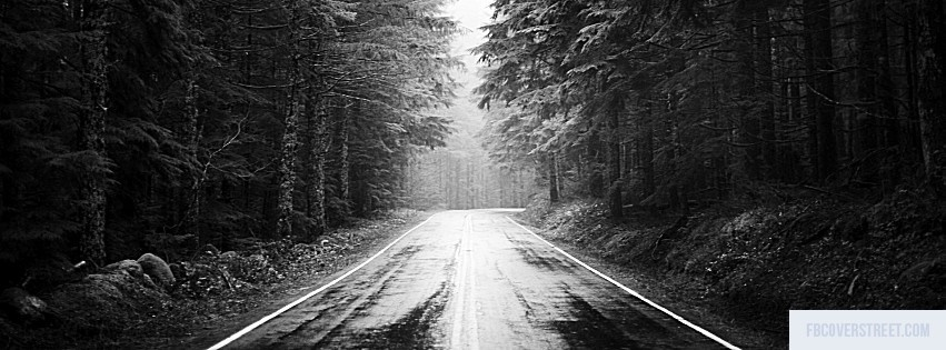 Road Black and White Facebook Cover
