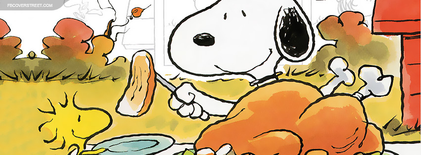 Snoopy Giving Turkey Facebook Cover