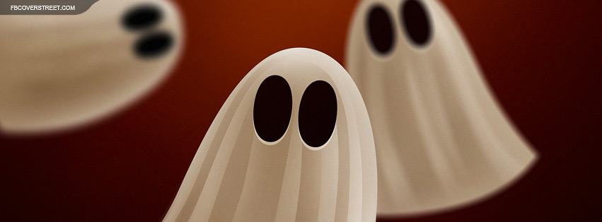 Cartoon Ghosts Peeking Facebook Cover