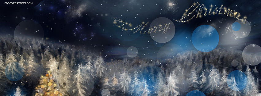 merry christmas winter forest painting facebook cover